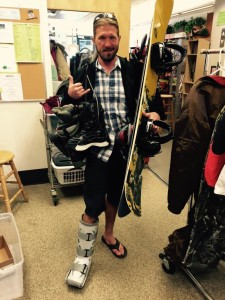 Cast on and returning his gear